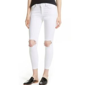 Free People Busted Knee White Skinny Jeans